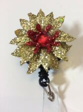 Christmas Poinsettias Flower Gold On Red Retractable ID Badge Reel Key Card Gift