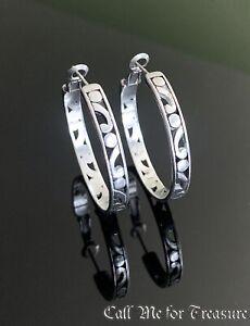 Brighton silver Scroll large hoop earrings