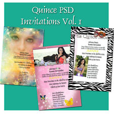 Photoshop Templates PSD for Quinceaneras Invitations Vol 1
