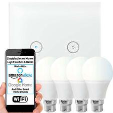 WiFi Light Switch & Bulb–4x 10W B22 Cool White Lamp & Double Wireless Wall Plate