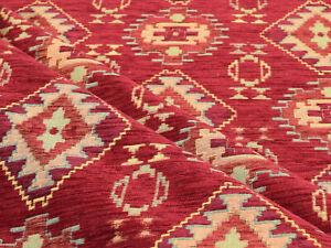 Ethnic fabric upholstery tapestry Kilim boho interior decor red anatolian Koyu