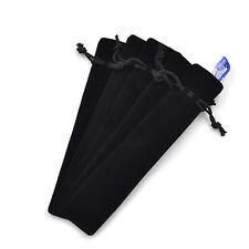 Protable 2X Black Velvet Pouch Sleeve Holder Single Pencil Pen Case Rope Locking