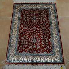 Yilong 2'x3' Silk Persian Handmade Rug Living Room Floral Classic Carpet 0435
