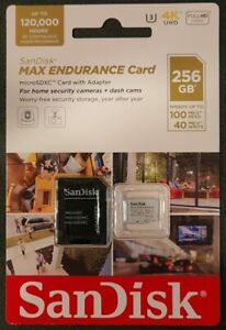 SanDisk 256GB MAX ENDURANCE MicroSDXC Memory Card + SD Adapter Home Security Cam