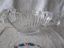 MCM Glass Crystal Pitcher Gravy Boat Low Vertical Ribbed Scallop Oval Shape EVC