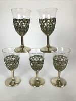Set of 5 Vintage Russian Shot Glasses/Egg Holders Removable Glass Metal Goblet