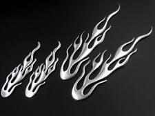 Set Silver Flaming Gas Tank Fairing Fender Tail Emblem Decal Racing Motorcycles