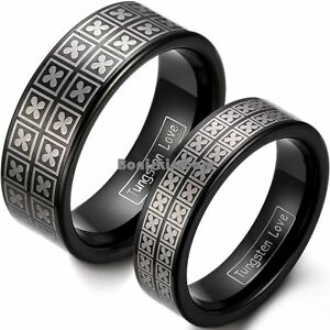 Black IP Tungsten Carbide Ring Laser Lucky Four Leaf Clover Couples Wedding Band