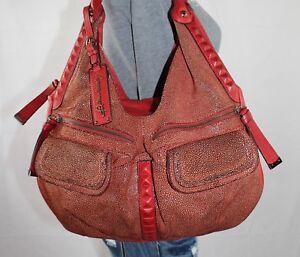B. MAKOWSKY Stanton Red Lrg Leather Shoulder Hobo Tote Satchel Slouch Purse Bag