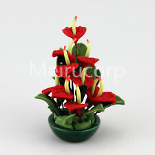 1:12 scale dollhouse mini Potted plant model Handcrafted Anthurium 12128