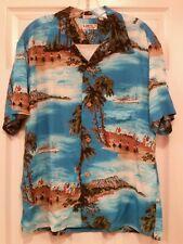 SUN SURF TOYO Rayon  Hawaiian Shirt Japan BON VOYAGE Cruise Ships Hula Girls L
