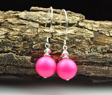 Neon Pink W Swarovski Elements Crystal Pearl Earrings Sterling Silver Filled