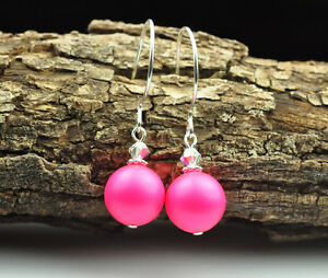 Neon Pink made with Swarovski Elements Crystal Pearl Earrings Silver Filled
