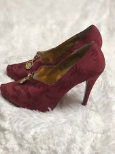 """57a7a5099a3 Apple Bottom Sexy 5"""" Stilhetto Heels Red Size 7.5 Zip All Over Pattern"""