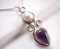 Cultured Pearl Purple Amethyst Teardrop 925 Sterling Silver Pendant New