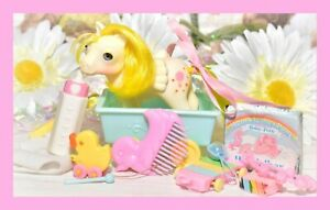 ❤️My Little Pony MLP G1 Vtg Baby Lofty Beddy Bye BBE Wagon Comb Accessories❤️