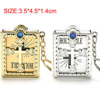 1PCS Mini Holy Bible Miniature Paper Spiritual Christian Jesus Key Chain Keyring