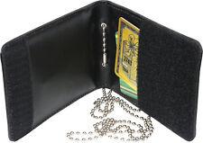Black Leather ID Holder + Chain Around Neck Wallet Law Enforcement Badge Case