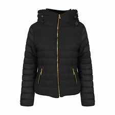 Womens Bubble Puffer Jacket Ladies Quilted Padded Coat Fur Collar Hood Thick Ma1 Black UK (6-8) Small