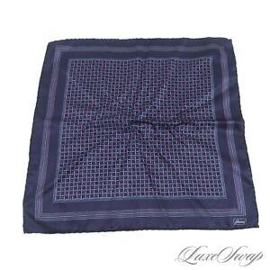 Brioni Italy 100% Silk Midnight Gloss Satin Purple Blue Geometric Pocket Square