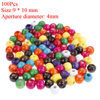 100x wooden beads round ball spacer beads kid's DIY for jewelry making 9*10mm YK