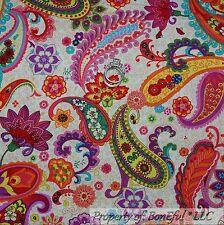 BonEful Fabric FQ Cotton Quilt Cream Rainbow Paisley Flower S French Shabby Chic
