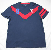 Mens Tommy Hilfiger Blue Red Stripe #8 Rugby Polo Sport Shirt Sz Large