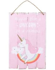 'HAPPIER THAN A UNICORN'  HANGING WOODEN WALL PLAQUE SIGN MAGICAL MYTHICAL GIFT