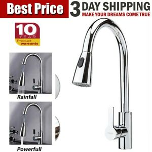 Swivel Spout Kitchen Sink Mixer Taps with Pull Out Bidet Spray Tap Chrome Brass