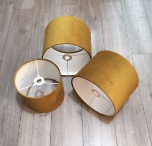 New luxury high quality velvet lamp shade pendant light shade - mustard