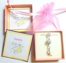"""I Love you to the Moon and Back"" Moon Charm and Disco Ball Necklace Gift in Box"