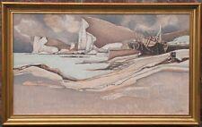 barques sur la plage - superbe huile sur panneau de Georges DAYEZ