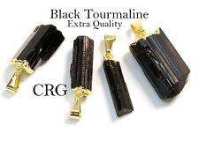 Gold Plated Extra Quality Black Tourmaline Pendant (PT19CN)