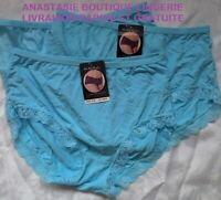 lingeriesousvêtementfemme 46 lot 3 boxers coton taille hautefinitiondentellebleu