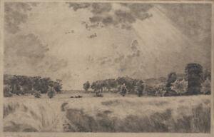 Louise Ravn Hansen, etching. Female artist. Summer landscape 1886