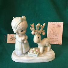 """Precious Moments 1989 """"522317"""" """"Merry Christmas Deer"""" Mint-Candle/Flame Mark"""