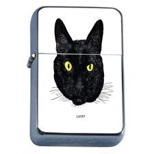 Black Cat Em5 Flip Top Oil Lighter Wind Resistant With Case