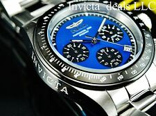 Invicta Mens 40mm Speedway Chrono Silver Tone Blue Dial Stainless Steel Watch