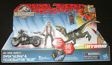 Jurassic World Dino Hybrid Owen Alpha & Velociraptor Blue Raptor Figure Set
