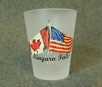 Shot Glass, Niagara Falls, US and Canadian flags