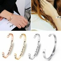 Open Cuff Keep Bucking Going Inspirational Bracelet Bangle Letter Engraved Gifts