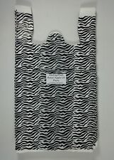 100 Zebra Print Design Plastic T Shirt Retail Shopping Bags Handles 115x6x21