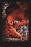 DRAGON ~ KNIGHT OFFERING ~ 24x36 FANTASY ART POSTER Dragons Bleu Turrell