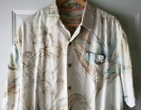 Tommy Bahama Hawaiian Shirt Large Mens Cotton Aloha Camp Cruisewear Flower L