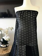 Laser Cut Chiffon Woven Fabric Sold By The Yard Black