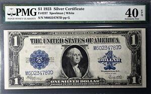 1923 $1 SILVER CERTIFICATE LARGE Speelman/White Fr#237 PMG 40 EF EPQ A2658