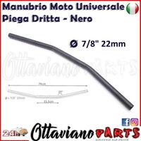"Manubrio Moto Custom 22 Piega Bassa Diritta Cafe Racer Nero 7/8"" Universale F125"