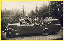 cpa Carte Photo 1930 VÉHICULE de TRANSPORT AUTO CARS LOURDES Pélerins Catholique