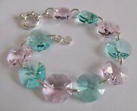 Bracelet Made with Swarovski Teal & Pink & Solid Sterling Silver