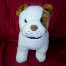 Beta Toys Bulldog 12in White Brown Plush Upright Dog Brown Faux Leather Collar